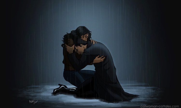 Bruce and Selina huddled in the rainin Crime Alley