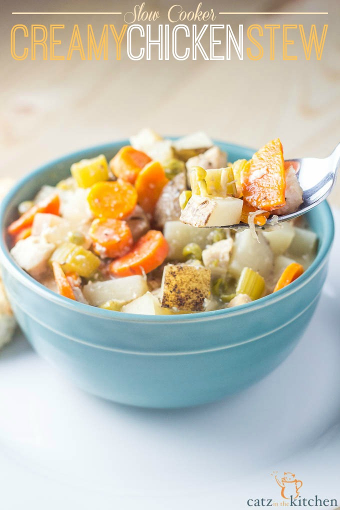 Slow Cooker Creamy Chicken Stew | Catz in the Kitchen | catzinthekitchen.com | #fall #stew #slowcooker