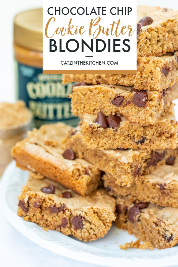 "Whether you call this recipe cookie butter chocolate chip blondies or just ""cookie casserole,"" it's just plain addictive! Bake them up with the kiddos!"