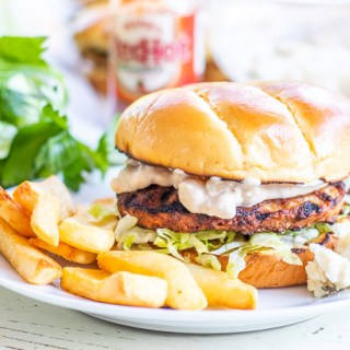 These tangy, tasty buffalo chicken burgers are a serious taste explosion – just make sure you've got enough mayo to go around!