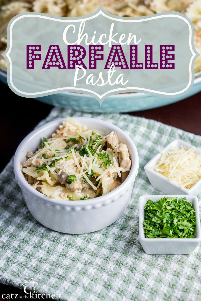 Chicken Farfalle Pasta | Catz in the Kitchen | catzinthekitchen.com #pasta #slowcooker #mushrooms