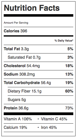 Sweet Potato Chicken Chili Nutrition Info