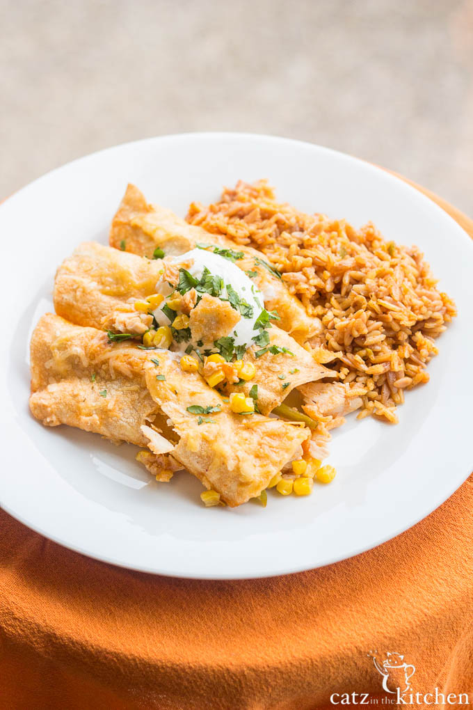 Red Chicken Enchiladas | Catz in the Kitchen | catzinthekitchen.com | #enchiladas