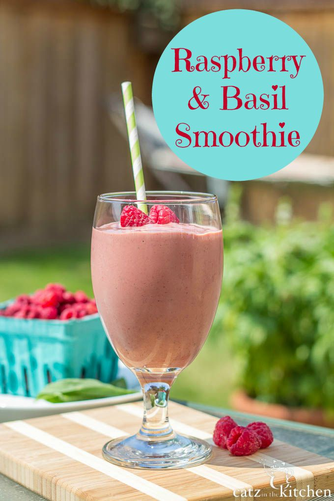 Raspberry & Basil Smoothies | Catz in the Kitchen | catzinthekitchen.com | #ORberries