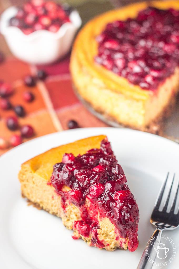 Pumpkin Cranberry Cheesecake | Catz in the Kitchen | catzinthekitchen.com | #dessert #pie #cranberries #Thanksgiving