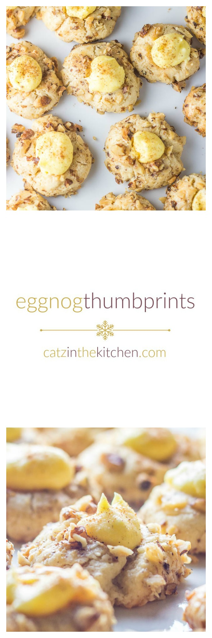 Eggnog Thumbprints | Catz in the Kitchen | catzinthekitchen.com | #cookies #eggnog #Christmas