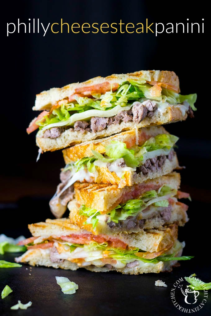 Philly Cheesesteak Panini | Catz in the Kitchen | catzinthekitchen.com | #philly #cheesesteak #panini #recipe