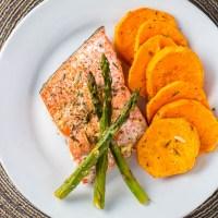 One Pan Salmon, Asparagus, & Sweet Potato Dinner