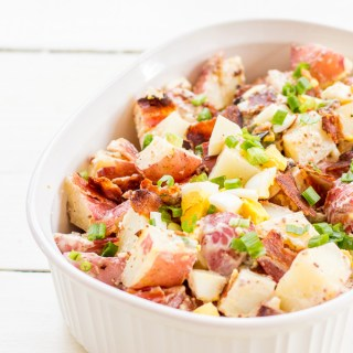 Need a fun, tasty side dish for the 4th of July or any other summer get together? Try this easy recipe for bacon and egg potato salad!