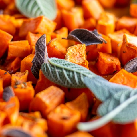 Rosemary & Maple Glazed Sweet Potatoes