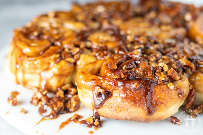 This recipe takes some time and work, but it's so worth it. The dough, the topping, the caramel...these caramel pecan sticky buns are straight up addicting.