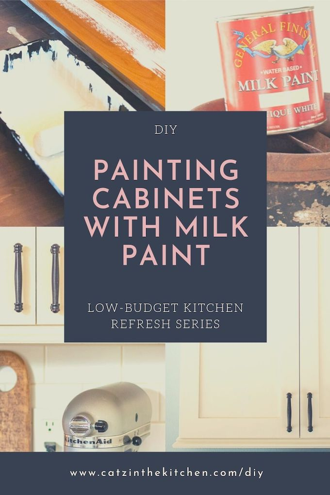 Diy Painting Our Kitchen Cabinets With White Milk Paint Catz In The Kitchen