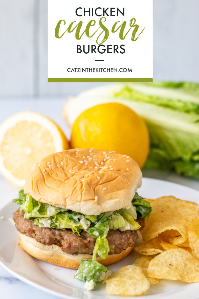These chicken caesar burgers combine summer grilling with the delightful flavors of this familiar salad in one easy recipe!