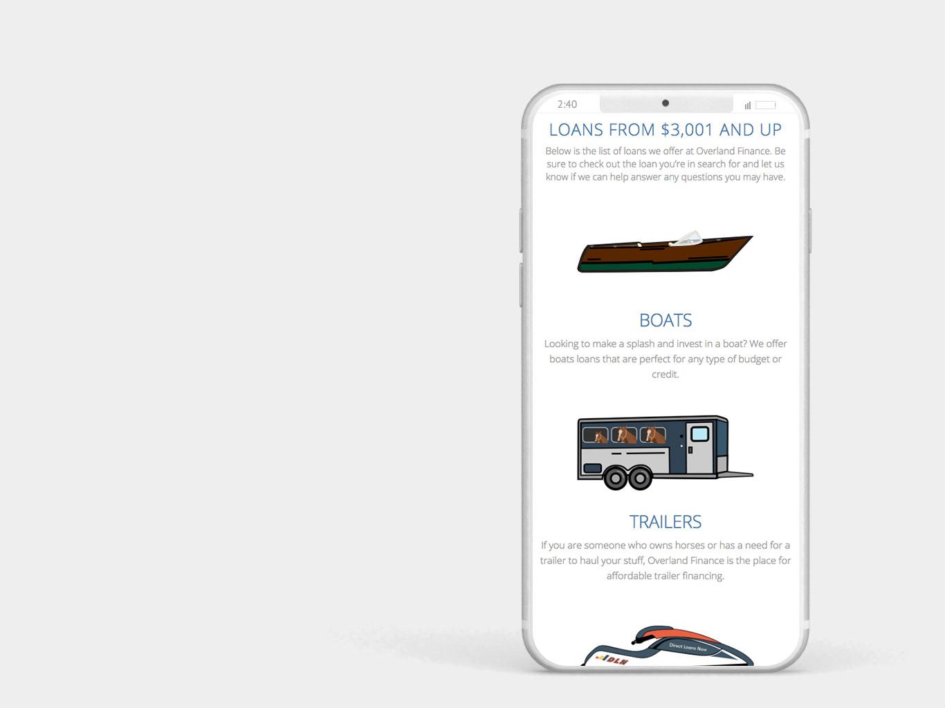 Overland Finance Mobile Website Design and Illustrations