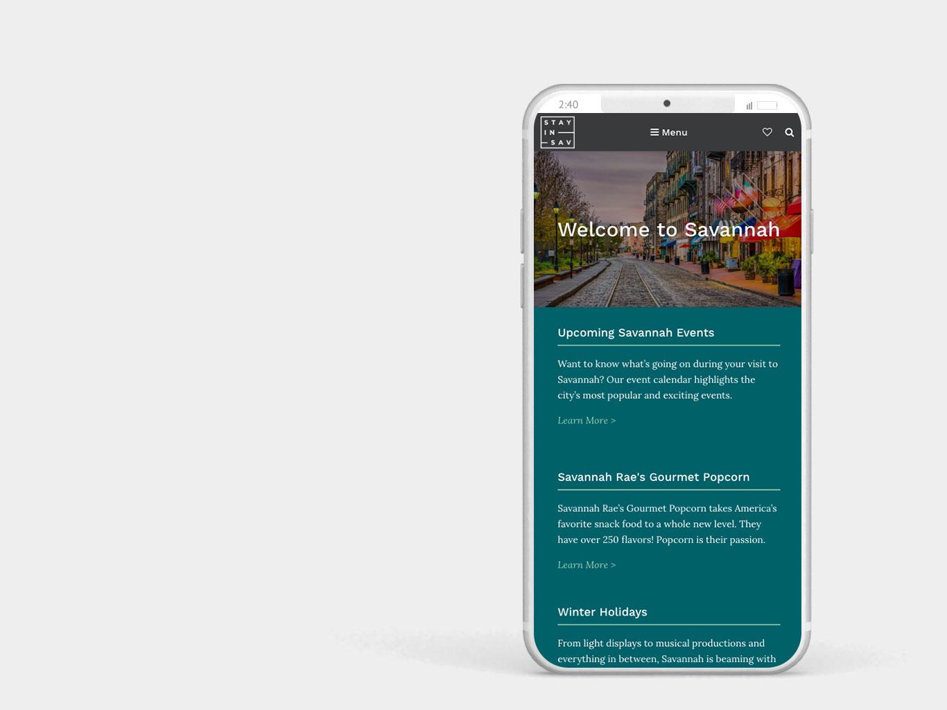 Stay in Savannah Mobile Website Design