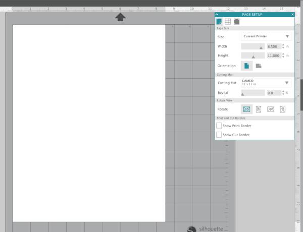 Silhouette Studio Page Setup Panel