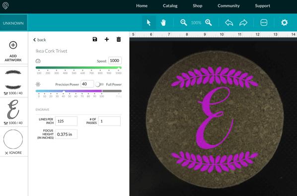 Screenshot of Glowforge settings for cork trivet