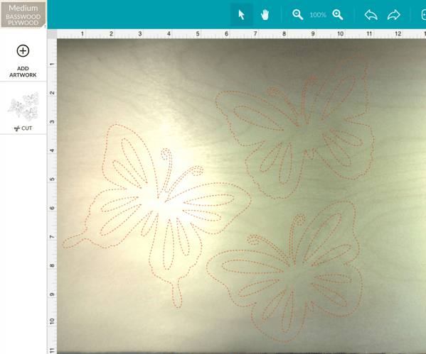 Dotted image of butterfly SVG file imported to Glowforge app
