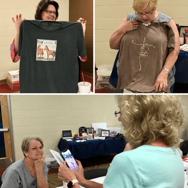Photo of people sharing their t-shirt designs
