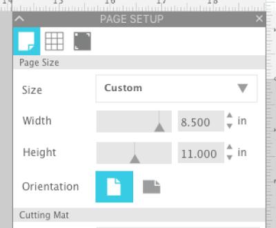 Screenshot of Silhouette Studio Page Setup Panel