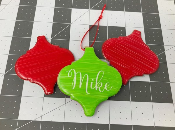 Painted tile Christmas ornaments