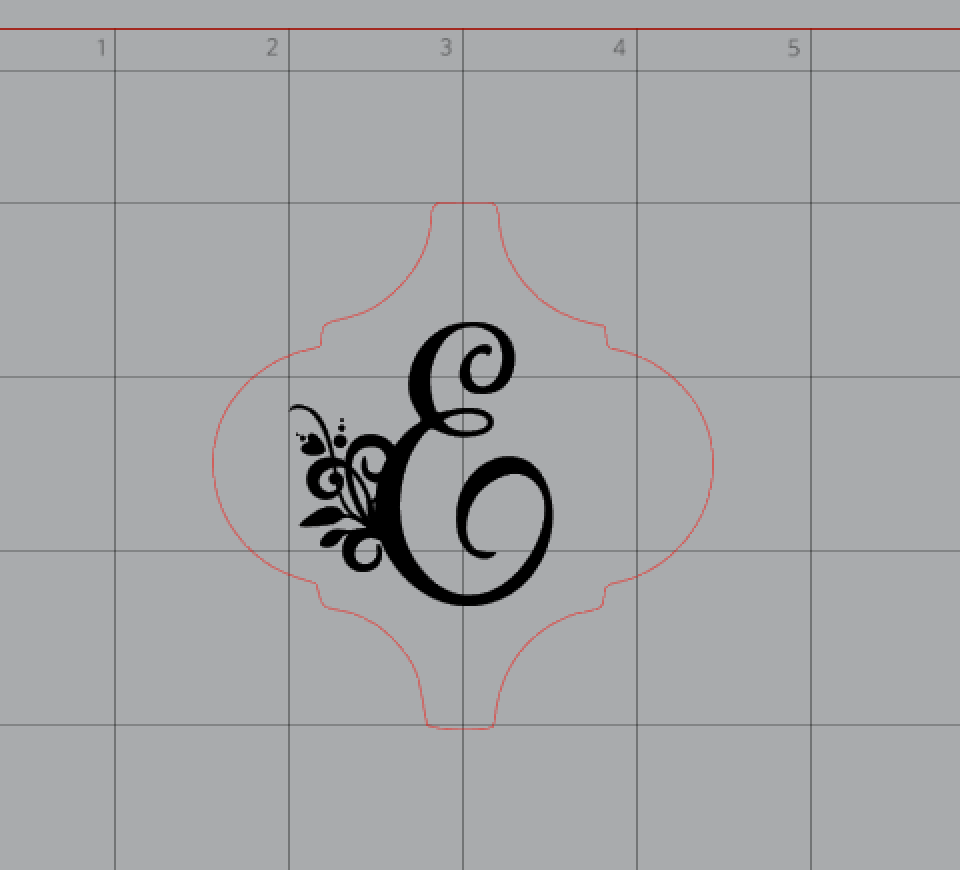 E monogram created in Silhouette Studio to use with the Glowforge