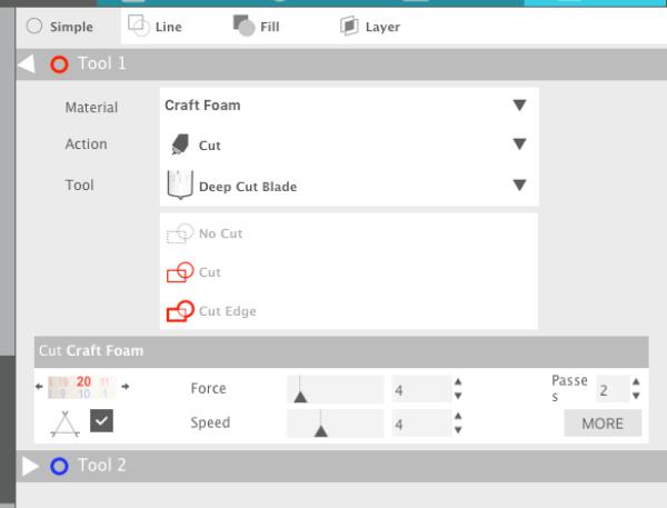 Screenshot of Silhouette Studio settings for craft foam