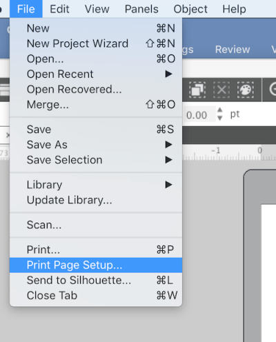 SIlhouette Studio Print Page Setup
