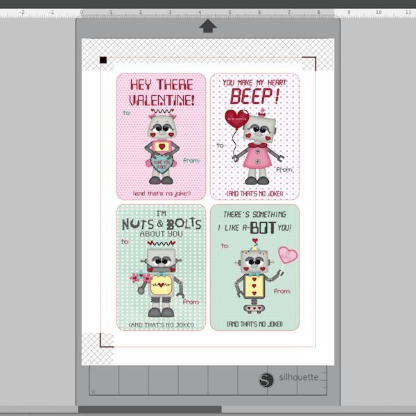 Screenshot of Valentine cards in Silhouette Studio
