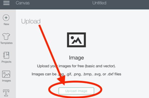Upload image in Cricut Design Space