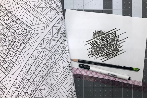 Freehand design drawn with sublimation marker