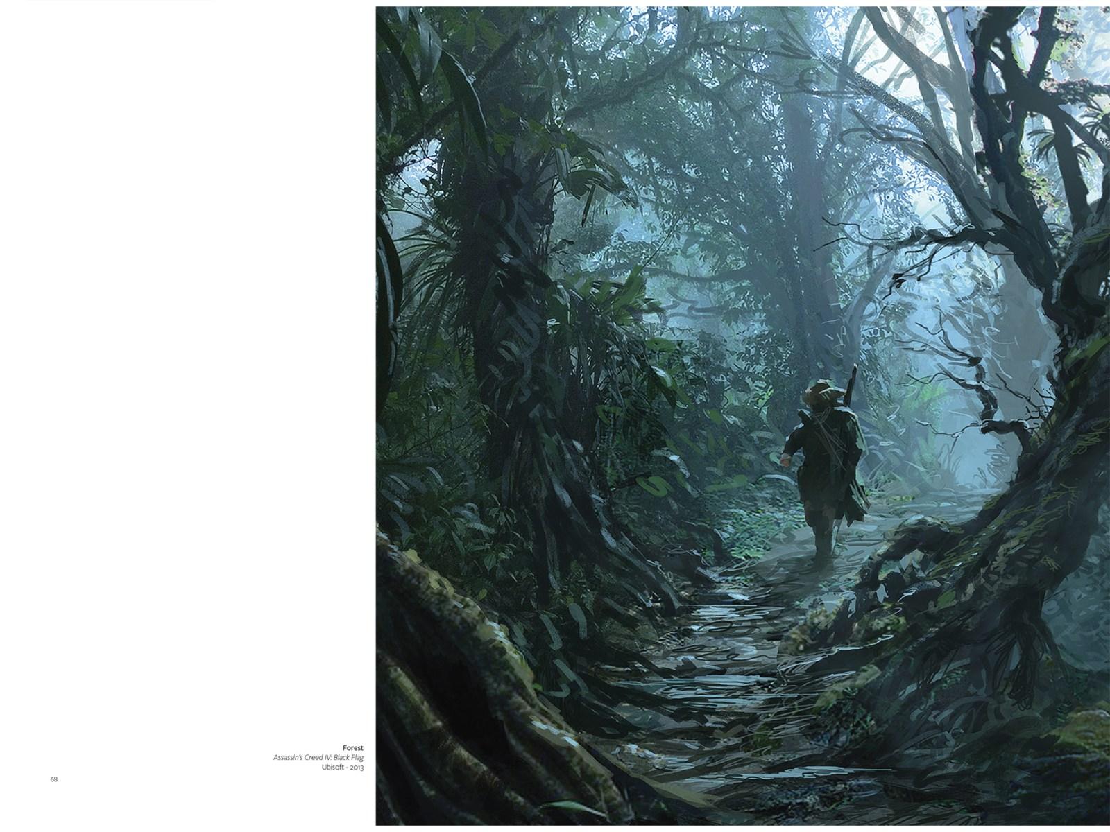 Peinture numérique d'un homme dans la forêt pluviale.