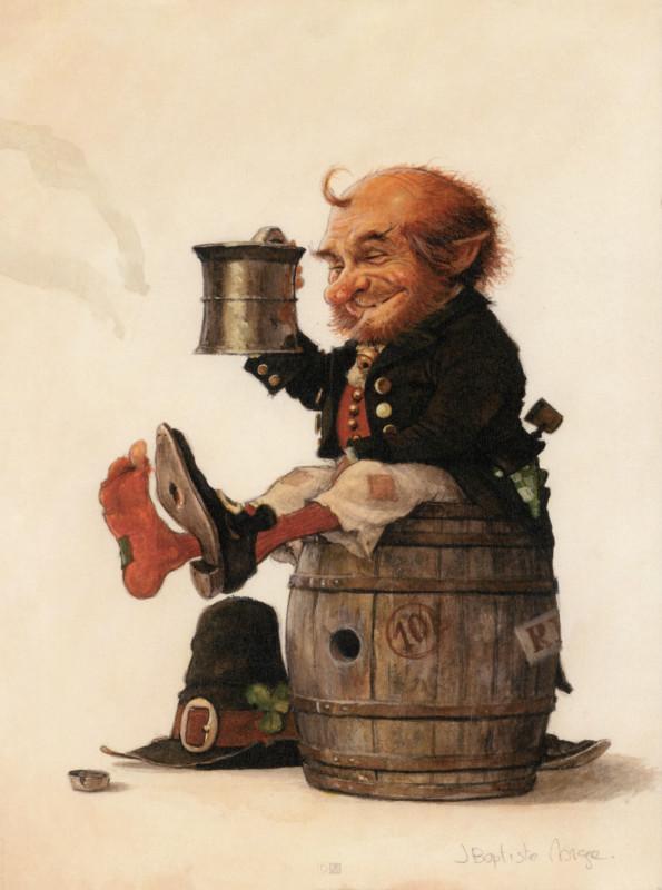 Celtic Fairies de Jean-Baptiste Monge : un gnome irlandais et sa chope de bière.