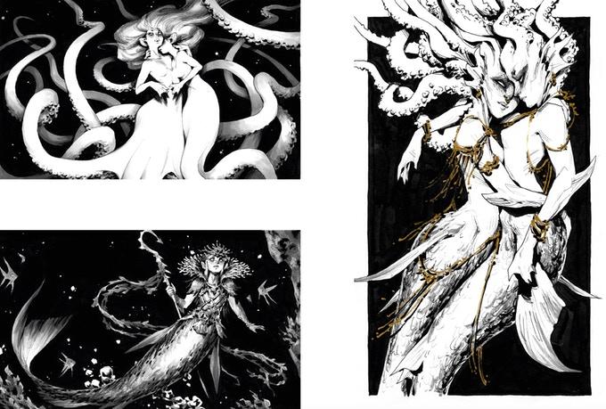 Extrait de l'artbook Aphos d'Andrew Mar : créatures de l'eau, les noires abysses.