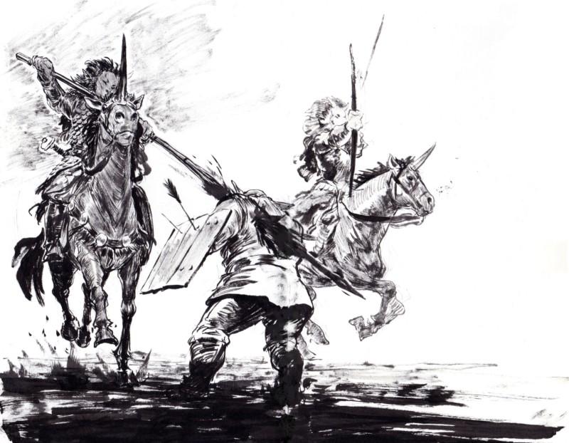 Croquis de guerrières à cheval, issus d'Even Mehl Amundsen. Les cavalières sont armées d'arcs.