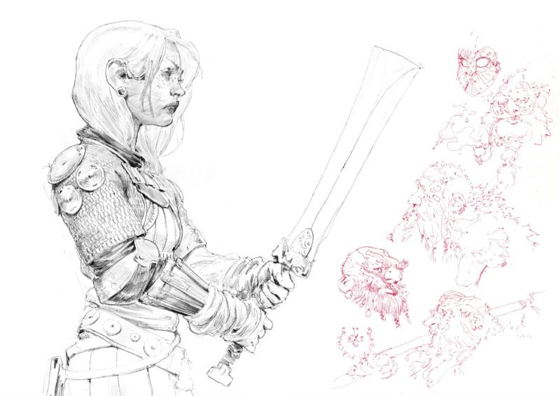 Croquis d'une femme tenant une épée, du sketchbook Decade.