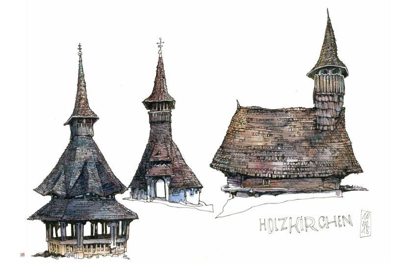 Ce qui reste du voyage de Jorg Asselborn, ancien kiosque et église.