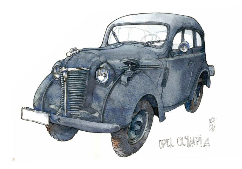 Ce qui reste du voyage de Jorg Asselborn, dessin d'une Opel Olympia.