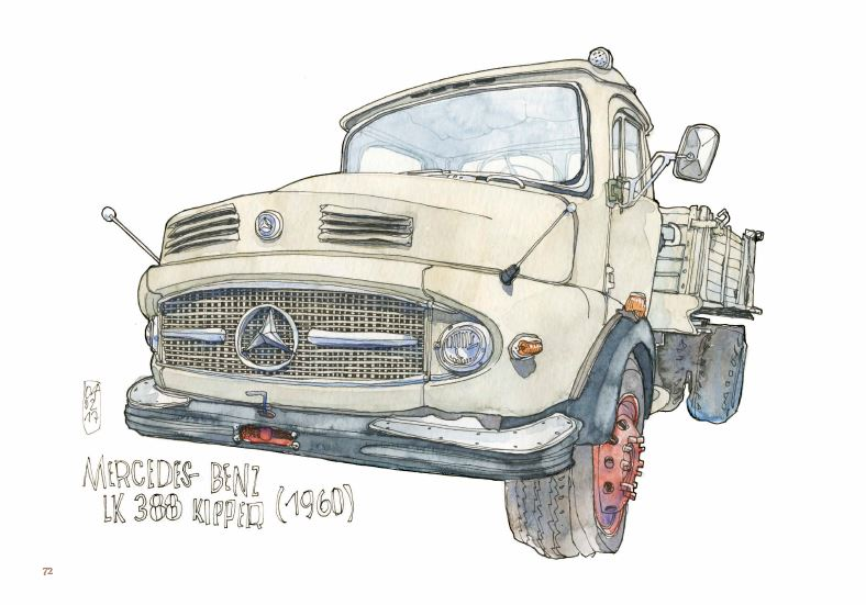 Ce qui reste du voyage de Jorg Asselborn, dessin d'une mercedes Benz LK 388 Kipped 1960