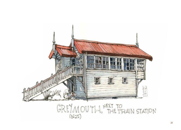 Extrait de Ce qui reste du voyage de Jorg Asselborn, dessin de maisonnée à Greymouth.