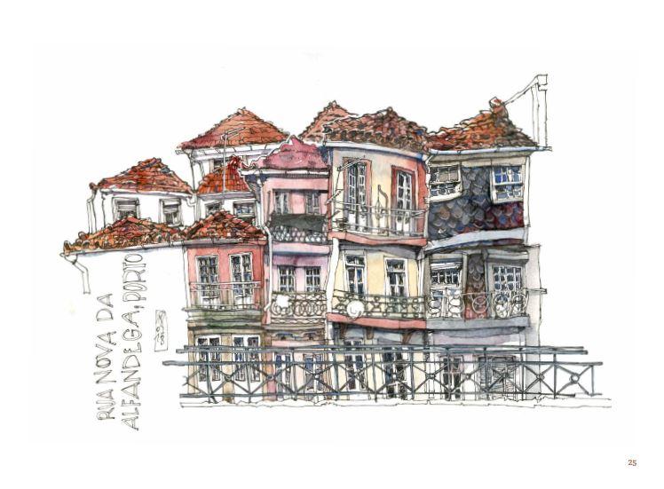 Dessin des maisons de la Rua Nova Alfandega, à Porto.