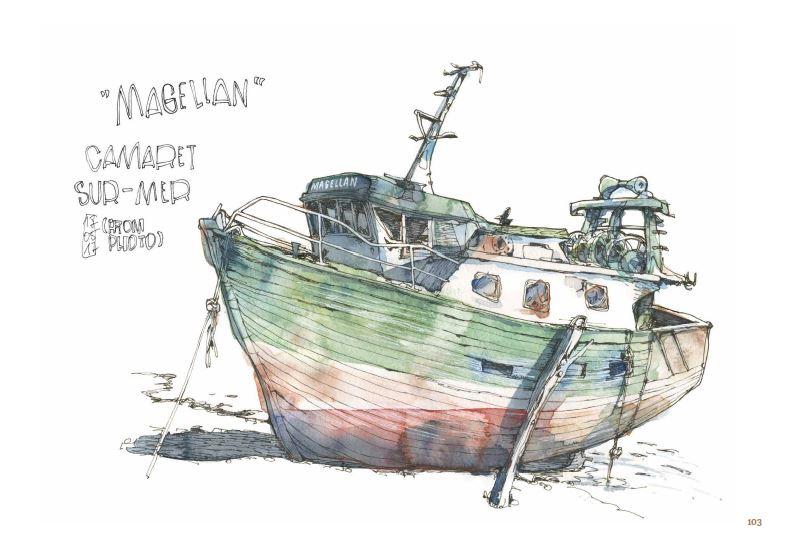 Ce qui reste du voyage de Jorg Asselborn, dessin d'un bateau à Camaret-sur-mer.