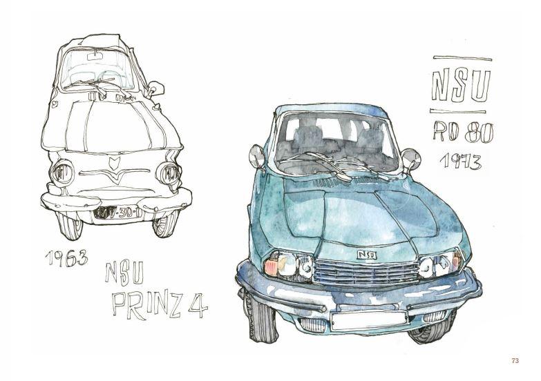 Dessin d'une automobile, des années 70 et 80.
