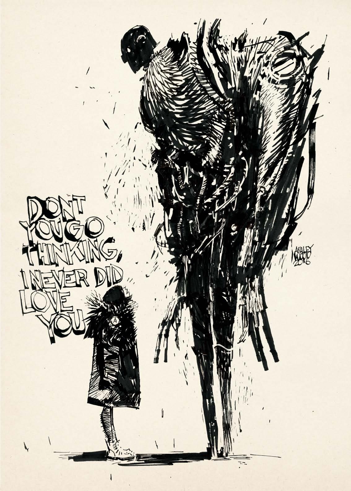 Image de l'artbook Ashley Wood - AWD XL BLACK. Une jeuneImage de l'artbook AWD XL BLACK. Une jeune femme et une créature ailée.