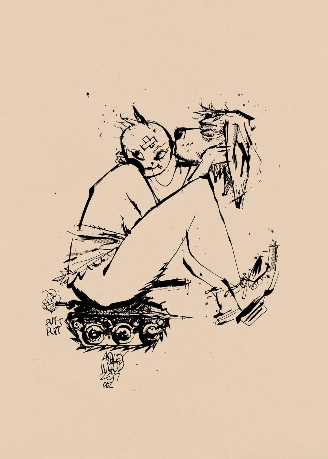 Image de l'artbook Ashley Wood - AWD XL BLACK. Une femme punk et son chien.