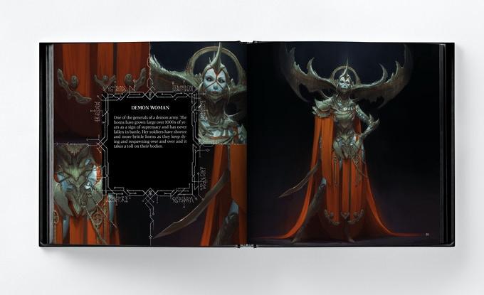 La femme-démon dans Abominations de Bjorn Hurri, un artbook de fantasy noire et d'horreur.