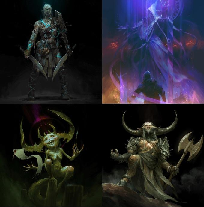 Quatres créatures puissantes et enchanteresses, conçus par le concept artist Björn Hurri.