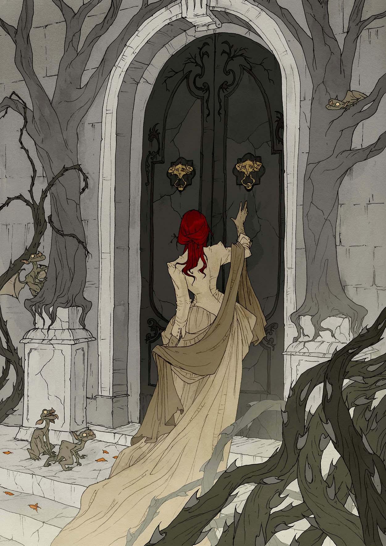 L'artbook Crimson d'Abigail Larson : une jeune femme se présente à la porte d'un château.