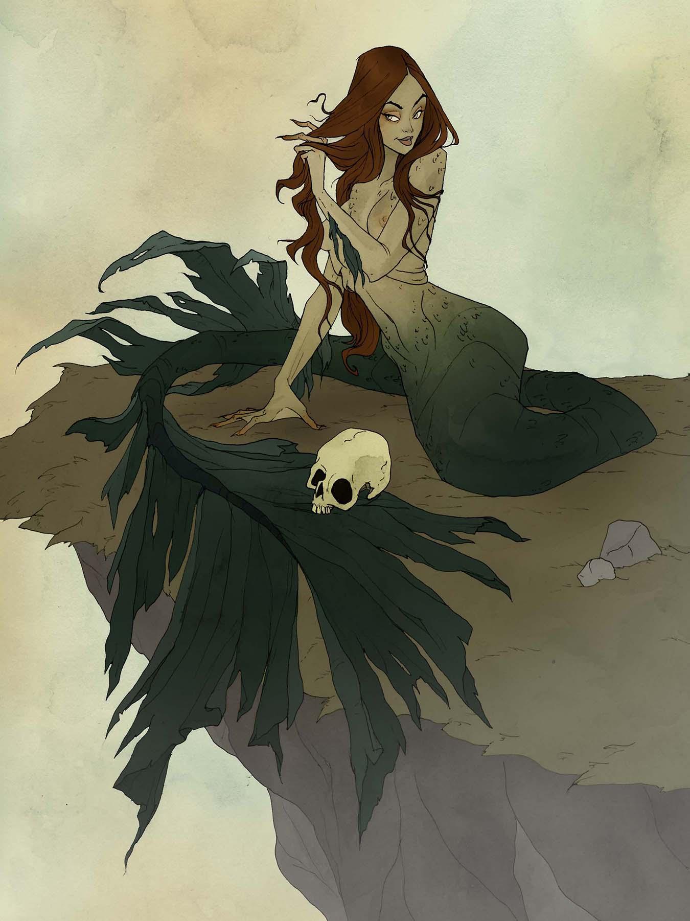 Image de l'artbook Crimson d'Abigail Larson : une belle sirène surplombe les rochers.