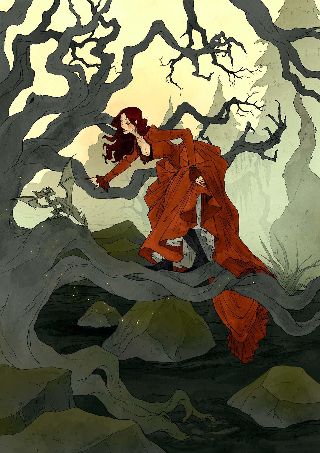 Crimson d'Abigail Larson : promenade victorienne dans les bois marécageux.